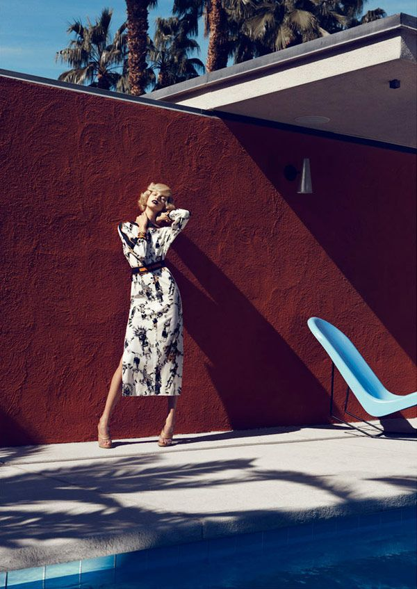 A modern setting in Palm Springs: Bette Frank, Fashion Style, Fashion Photoshoot, Lachlan Baileys, Harpers Bazaars, Photoshoot Inspiration, Palms Spring, February 2012, Fashion Photography