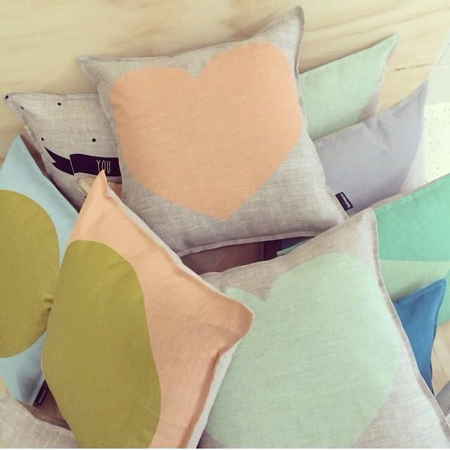 L I N E N // We love these beautiful linen cushions handmade in Melbourne. Linen + Pastel =  Find them in our homewares section #cushions #australianmade #linenandpastel #linen #linencushions #homeinspo #glitter #heartcushions