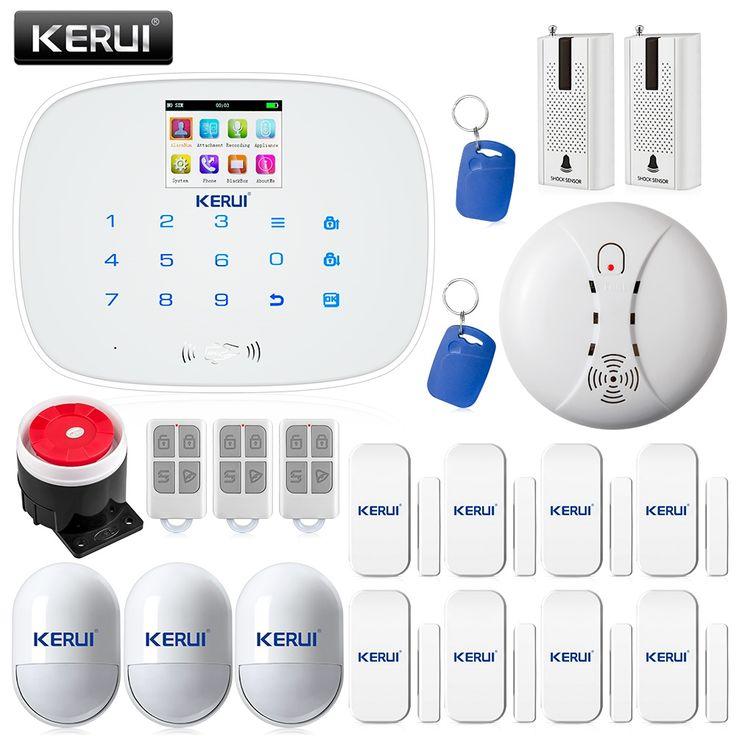 172.49$  Watch more here  - KERUI APP Wireless GSM RFID arm/disarm Autodial Home Alarm System Door/window Status Self-check+smoke/fire detector+glass sensor