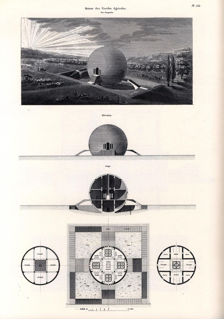 "ryanpanos:  Claude Ledoux's Spherical house: 1789-1806 via Retronaut ""Claude-Nicolas Ledoux (1736–1806) was an architect whose greatest works were funded by the French monarchy and came to be perceived as symbols of the Ancien Régime rather than Utopia. The French Revolution hampered his career; much of his work was destroyed in the nineteenth century."" - Wikipedia"