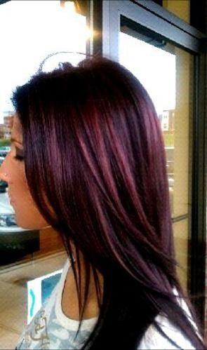 Deep black cherry hair color, with violet. Back to my go to fall color.