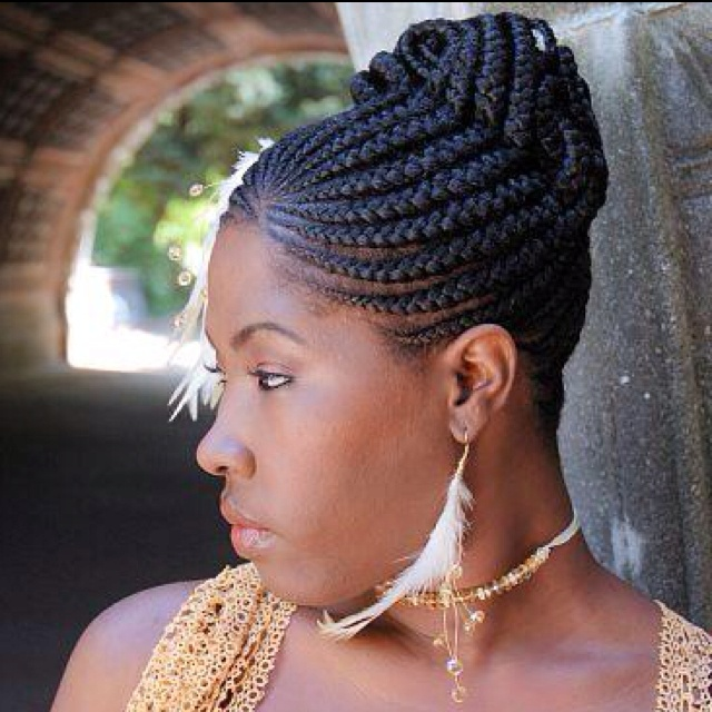 African French Braid Updo Hairstyles
