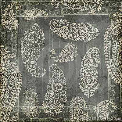 Antique Grungy Vintage paisley indian background by Jodielee, via Dreamstime