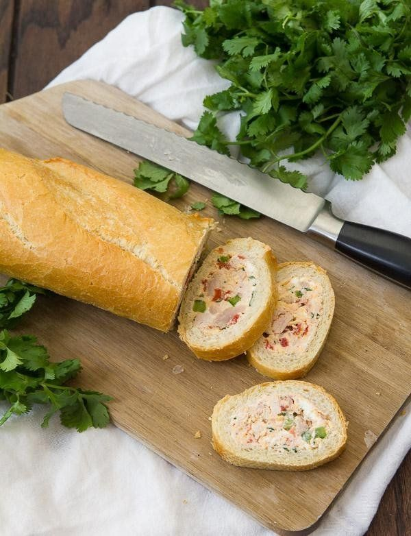 Cheesy chicken and vegetable stuffed baguette recipe Not your typical party appetizer