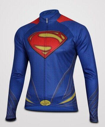 Capitán América Superman Spiderman Iron Man 2014 Jersey de ciclo de invierno de lana térmica pantalones de manga larga del babero de la bicicleta de la bici