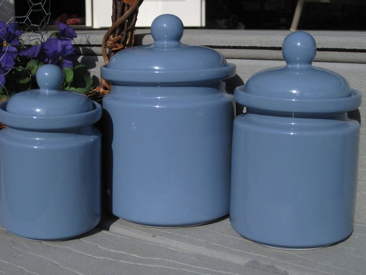 blue kitchen canister sets periwinkle blue canister set 3 canister set 16457