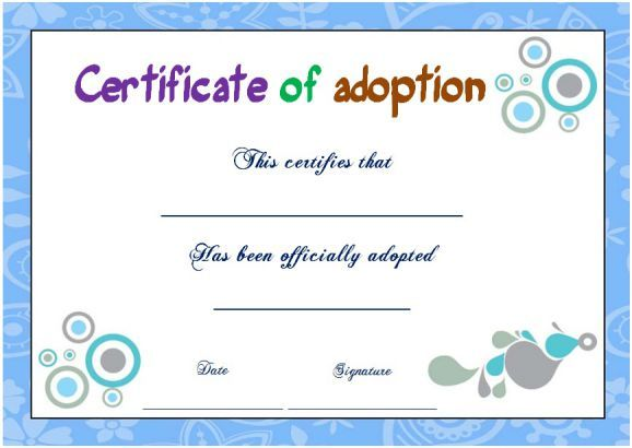 The 12 Best Blank Adoption Certificate Template Images On Pinterest