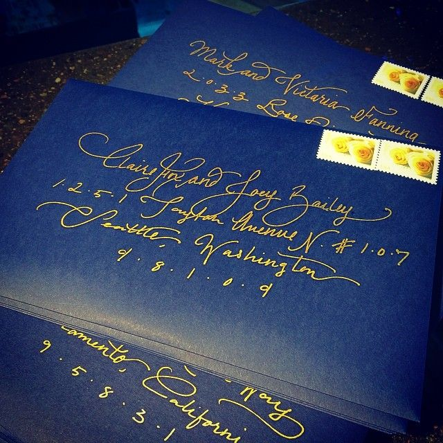 Added a touch of metallic gold #handlettering to this wedding invitations suite. #navy #letterpress #pikestpress #wedding #invitations #seattle