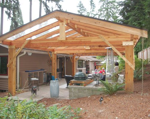 If we can only afford a covered porch I'd like to incorporate some window panels in with the roofing panels.  Patio Cover, Redmond, WA