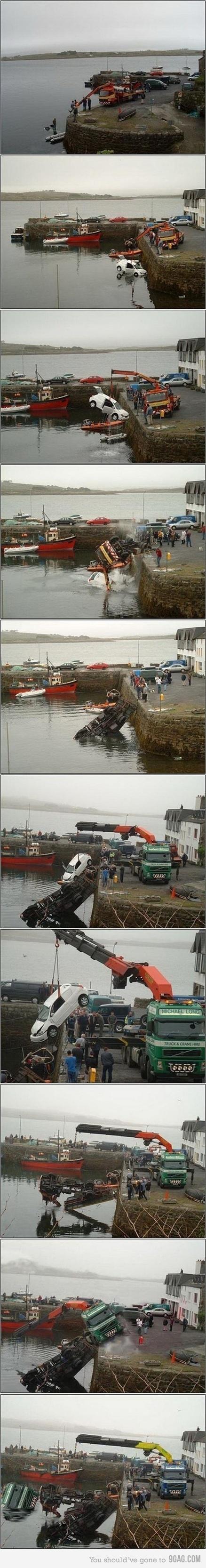 triple fail: Tow Trucks, Laughing, Funny Pics, Epic Fails, Funny Stuff, Humor, Bad Day, So Funny, One Job