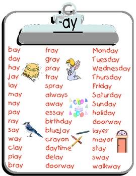 Ay Word List Phonics Words Phonics Word List