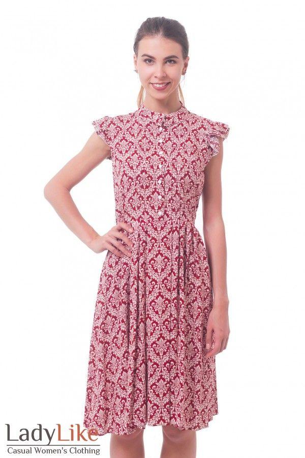 Платье красное в белый узор