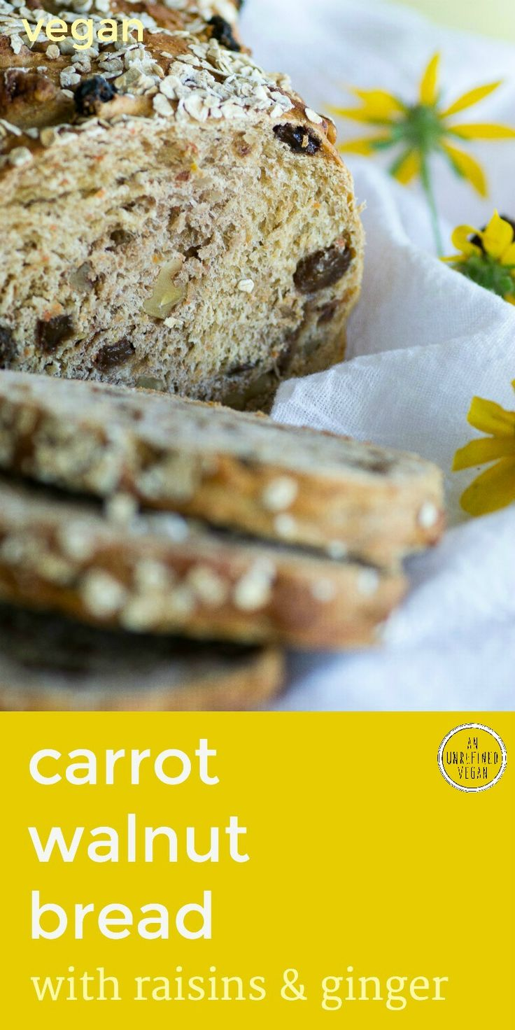 Wholesome breakfast bread is as easy to make as it is delicious. Toast up some Carrot Walnut Bread w/ Raisins & Ginger! By An Unrefined Vegan.