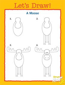 Let's Draws a Moose. Other animals, activities, and coloring pages.