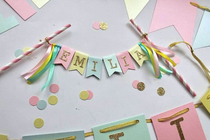 Personalised ribbon and bunting flag cake topper