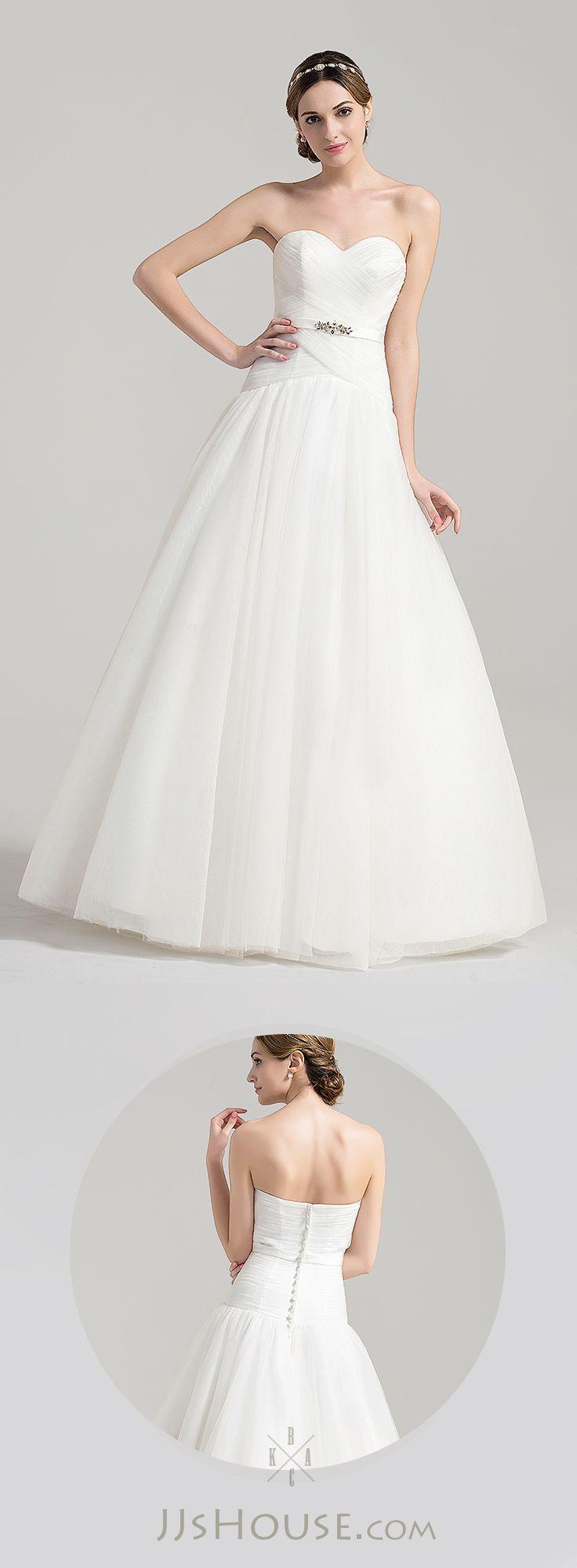 Ball-Gown Sweetheart Floor-Length Tulle Wedding Dress With Ruffle Beading  #jjshouse