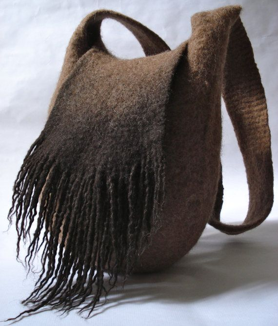 Felted shoulder bag with fringe from natural colored wool