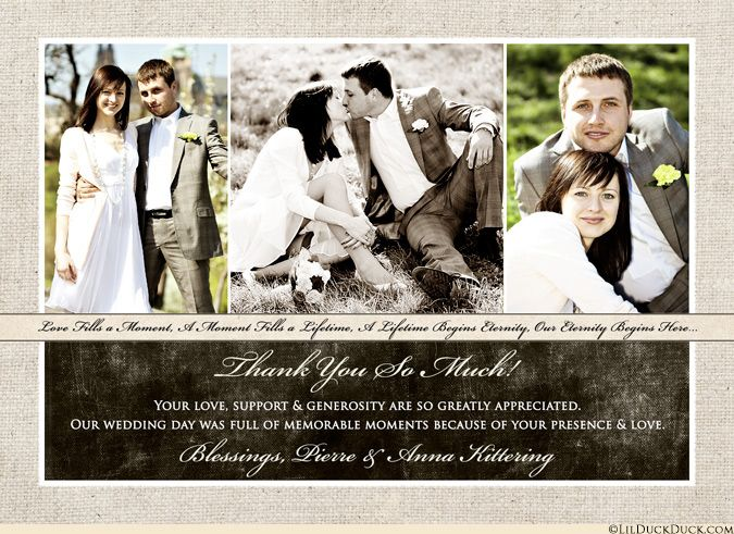 This Three Photo Wedding Thank You Card Shares Your Happiness And Personalized Text Across The
