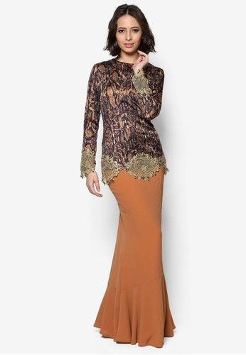 Josephine Baju Kurung from JLuxe in Orange and Multi and Brown Step into the scene with a mesmerizing presence through this Josephine Baju Kurung from JLuxe. The lavish sequin embellishment lined with alluring silhouette adds a charming note to your ensemble while keeping things modest and elegant.  Top - Polybl... #bajukurung #bajukurungmoden
