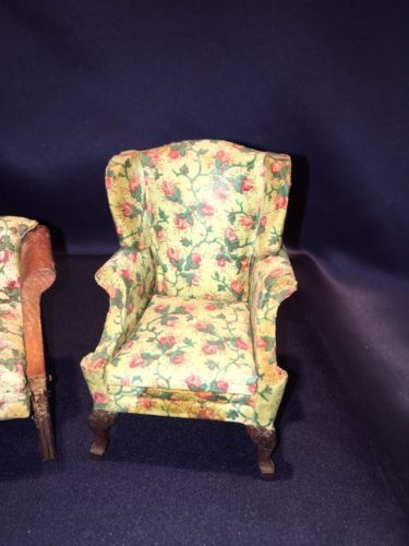 Lynnfield-Dollhouse-Miniature-Wing-Chair-Sofa-Rosebud-Upholstery-As-Found-1920
