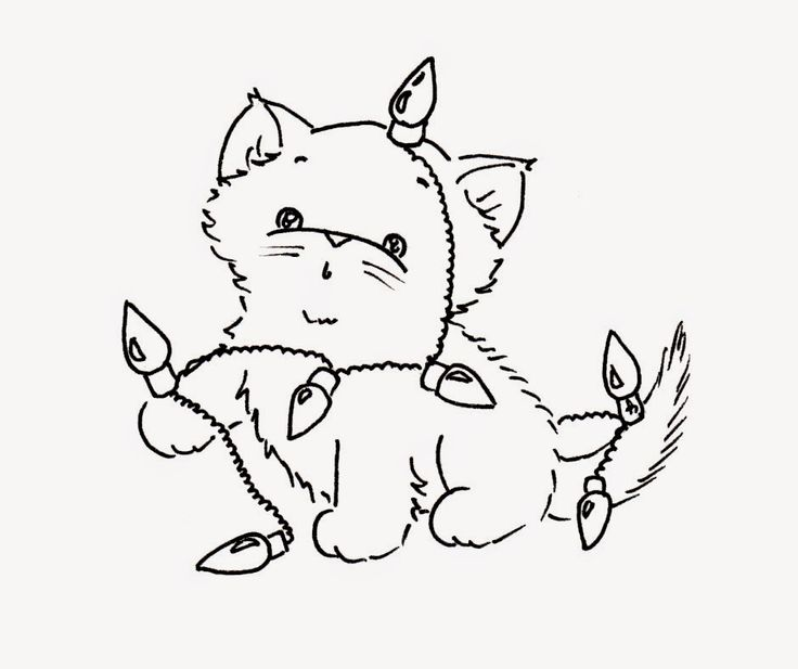 christmas cat coloring page - 119 best coloring christmas images on pinterest color
