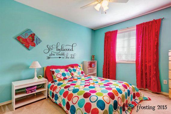 Ze geloofde dat ze kon citaat slaapkamer muur Office Decor - pijl - tiener meisje muur sticker - Decal muur sticker Viny belettering