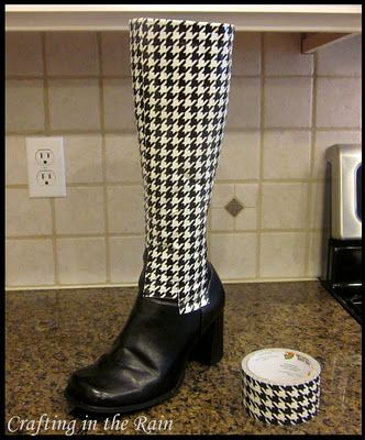 Get more use out of your boots by covering them in duck-tape!