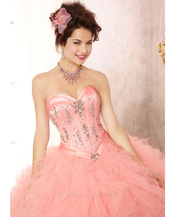 Quinceanera Dress #88085 Crystal Beaded Satin Bodice on a Ruffled Tulle Ball Gown Skirt