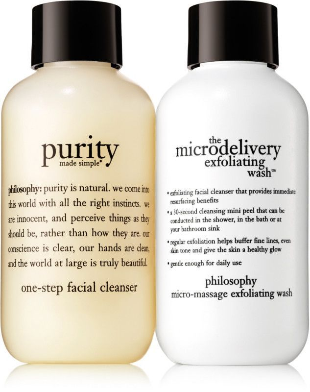 Philosophy's Mini Take Good Care Cleanser Kit features 2 ways to cleanse, perfect for daily care (and all skin types): Purity Made Simple One-Step Facial Cleanser and The Microdelivery Exfoliating Wash, both in travel-ready sizes.