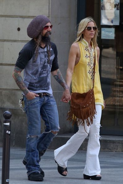 Rob Zombie and wife Sheri Moon Zombie are seen strolling on the 'Champs-Elysees' Avenue on June 12, 2014 in Paris, France