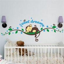 Sød abe der sover på en gren - Wallsticker -NiceWall.dk