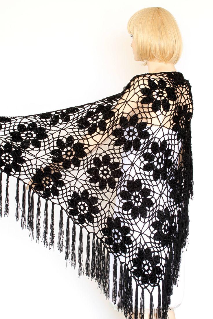 Black Shawl Crocheted wrap shawl Black shawl, Black Wraps Shawl Evening Lace Shawl Wedding Wrap by ettygeller on Etsy