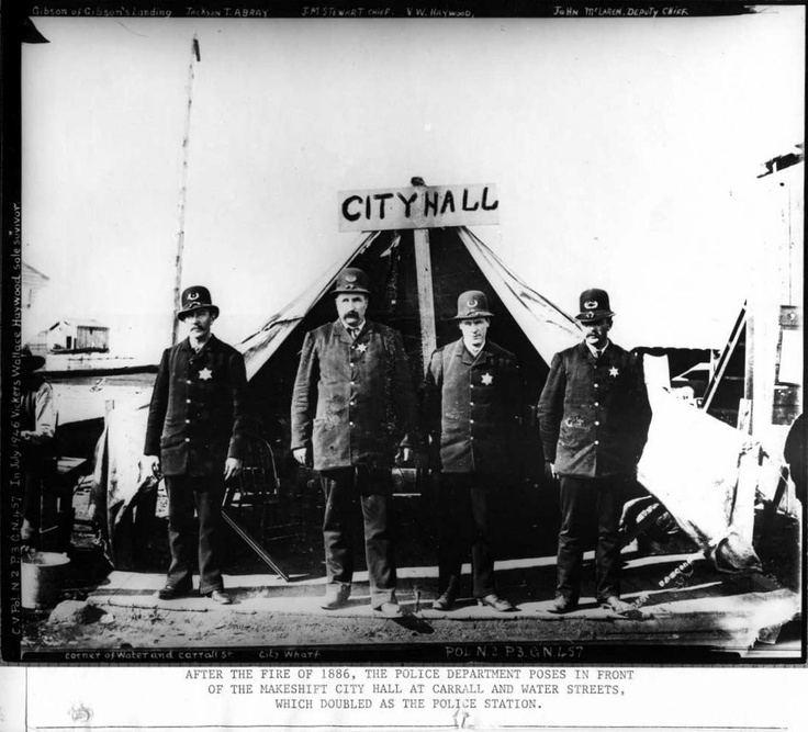 VPD officers standing in front of the makeshift City Hall at Carrall and Water Streets, which doubled as the police station after the great fire of 1886.