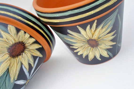 Hand Painted Pot 4 Inch Sunflowers Ready to Ship by ThePaintedPine, $18.00