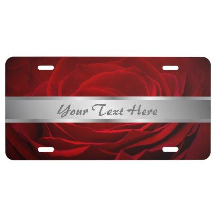 Pretty Red Rose Personalize License Plate - rose style gifts diy customize special roses flowers