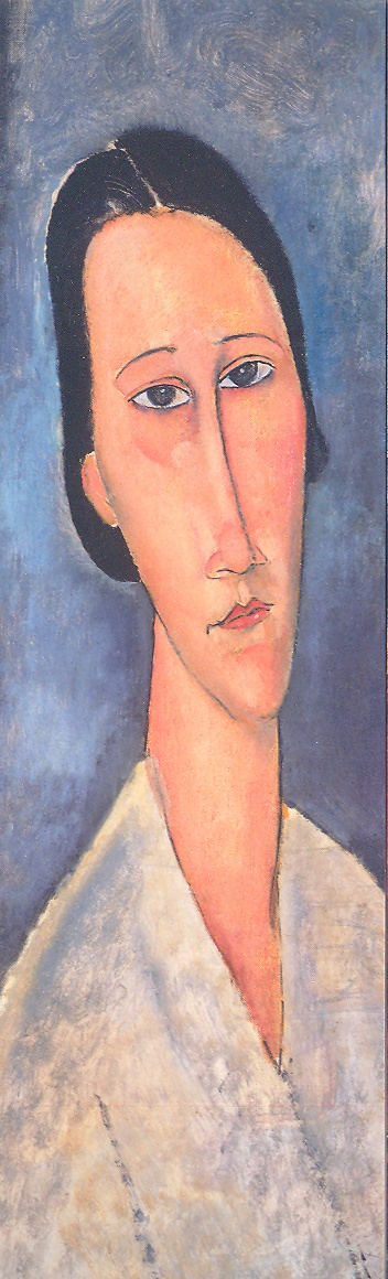 Amadeo Modigliani (Italian, 1884-1920) - Portrait of Madame Zborowska, 1918 (detail) - Bookmark from the exhibit Modigliani and His Times at the Museo Thyssen-Bornemisza, Madrid (February-May 2008). On loan from the Tate Gallery, London. http://www.museothyssen.org/microsites/exposiciones/2008/Modigliani/index_ing.htm