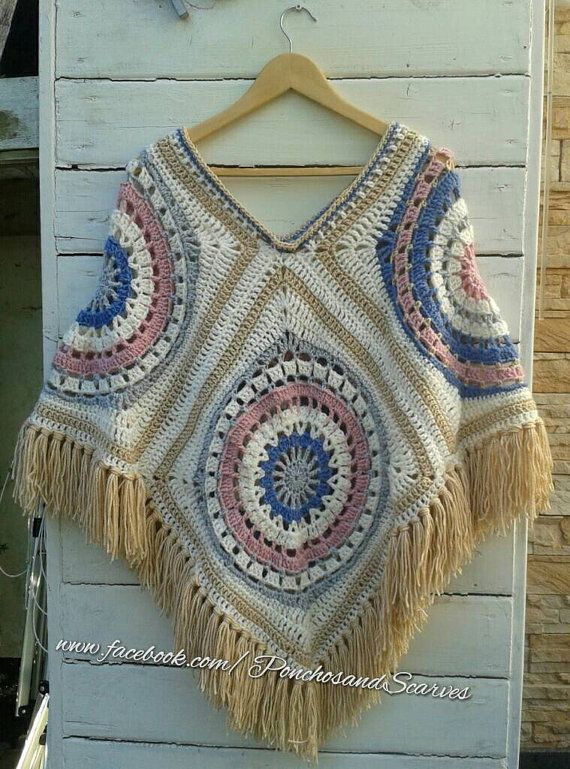 Crochet 70s vintage poncho with fringes and beads,crochet Bo-M poncho,Bo-ho poncho,Bohemian style,hippy style poncho,granny square poncho