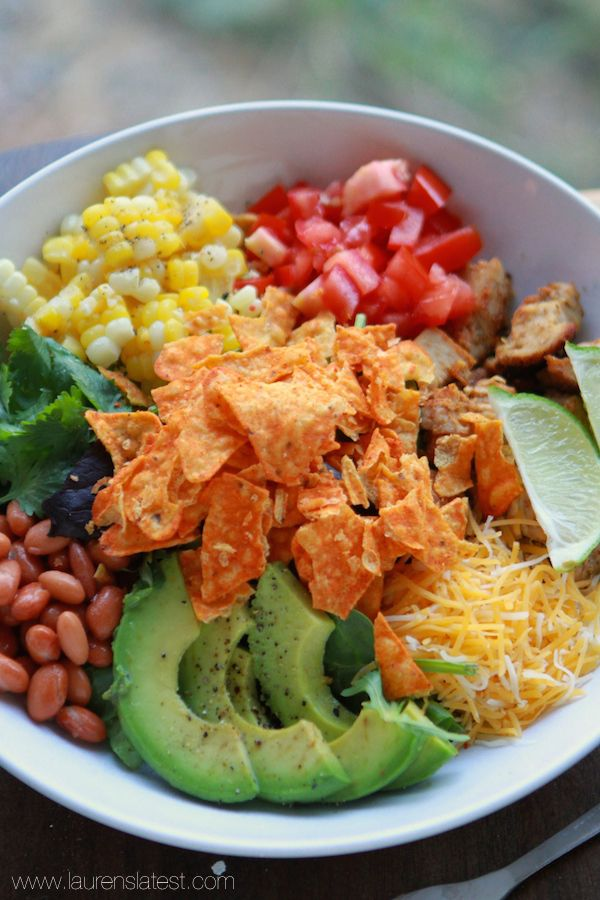 Southwest Salad with Garlic Lime Dressing & Doritos!!