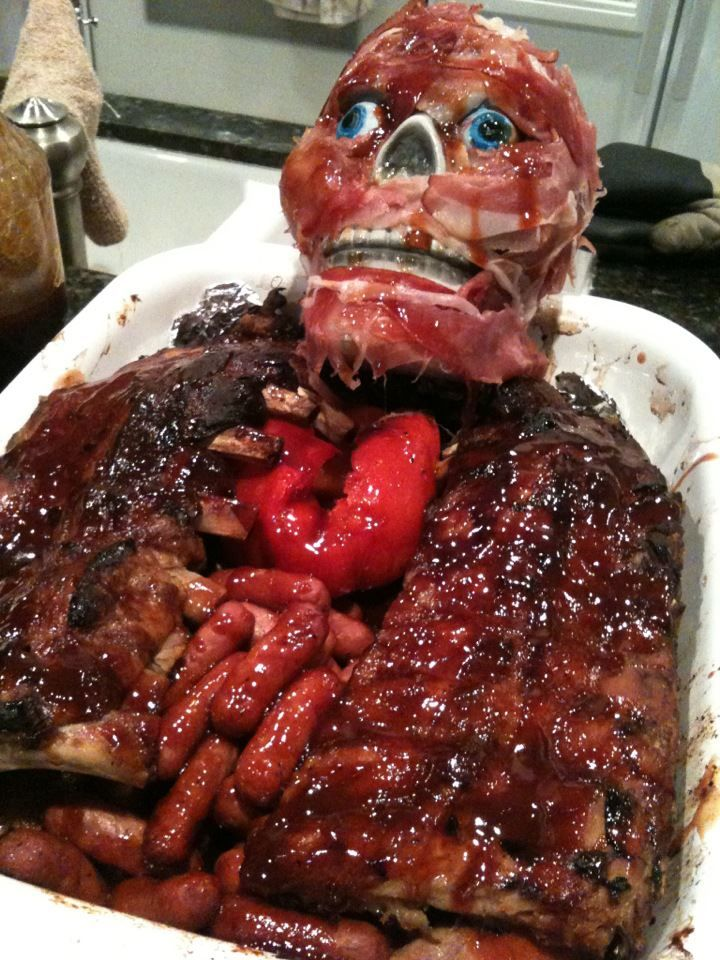 This is so nasty, but it's pretty awesome for Halloween - it's all MEAT!