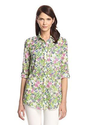 42% OFF JAK Women's Oversize Boyfriend Shirt (Green Floral Print)