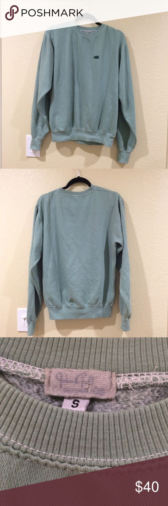 Brandy Melville Erica CA embroidery sweatshirt Relaxed fit blended cotton pullover sweatshirt in a stonewashed green with a crewneck front and small dark green bear embroidery on left chest. 27 inch length and 23 inch bust. New, never worn or washed! NO TRADES Brandy Melville Sweaters Crew & Scoop Necks