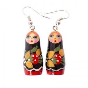 Strawberry matryoshka earrings