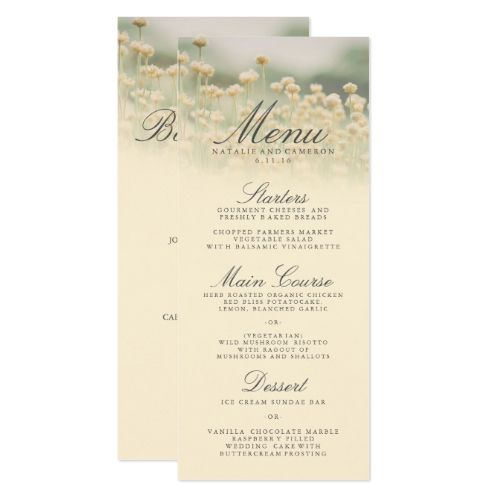 Vintage Wildflower Boho Wedding Dinner Menu Card