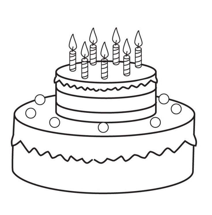 Easy Birthday Cake Coloring Pages For Kids