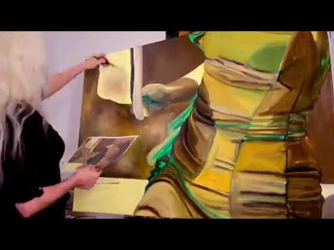 """Step by step, speed oil painting of """"Be my golden sunshine"""" artwork by O..."""
