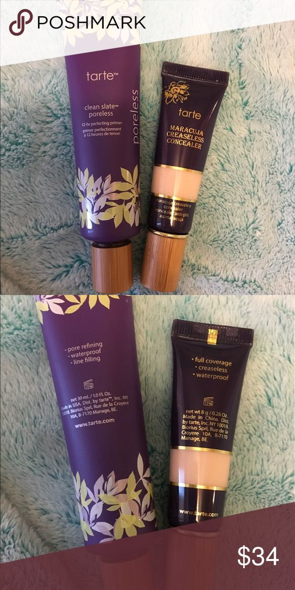 Tarte Creaseless Concealer and Tarte Primer This listing is for the Tarte creaseless concealer in shade fair and the Tarte 12 hour clean slate poreless primer. These are full products and have only been tried out a couple times. tarte Makeup Concealer
