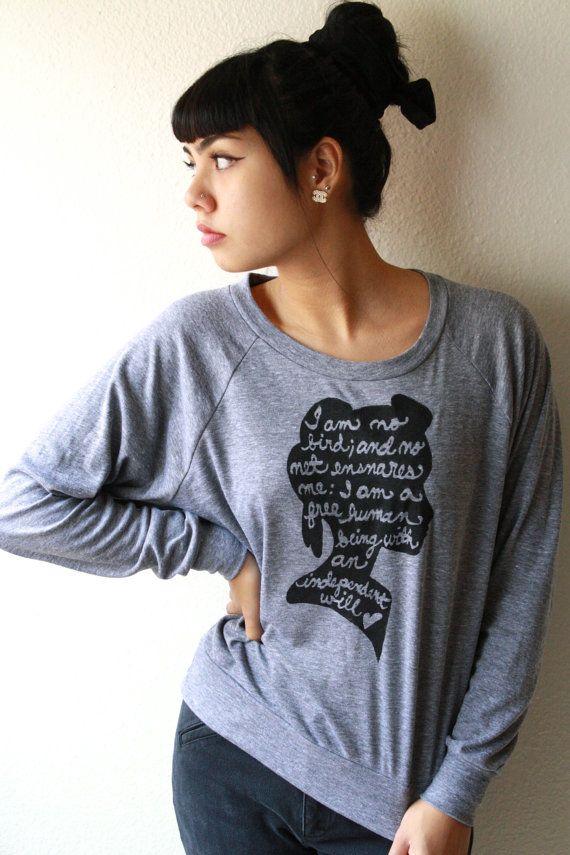 """Jane Eyre zu zitieren, """"Ich bin kein Vogel..."""" Slouchy Damen-Pullover in grau. KUNDENSPEZIFISCH KONFEKTIONIERT"""