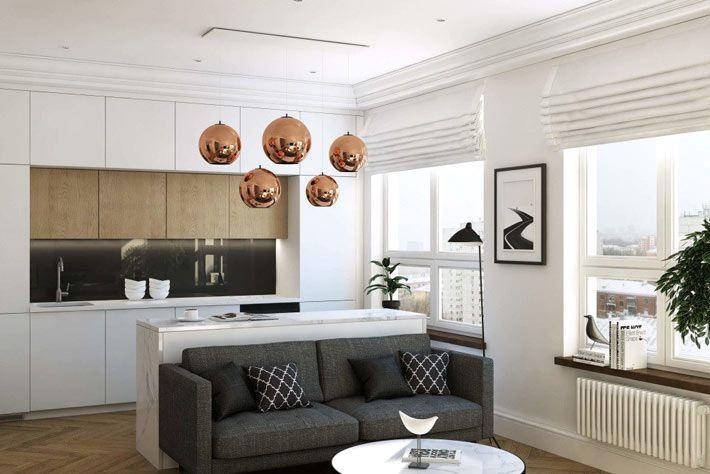 Однокомнатная квартира с отделкой из натуральных материалов