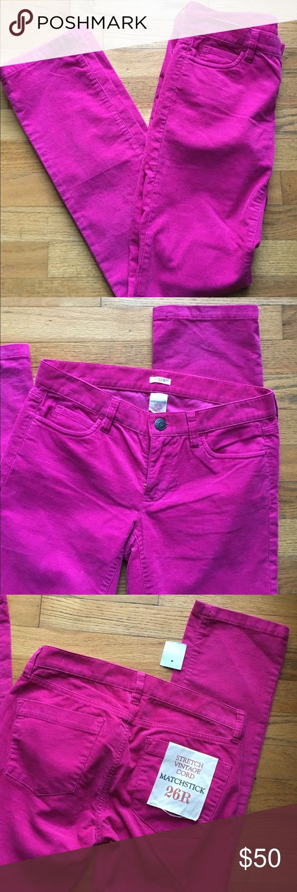 J.Crew stretch vintage raspberry cord pants Love the deep pink color and matchstick cut! NWT. 99% cotton, 1% spandex. 33 inch inseam. J. Crew Pants Skinny