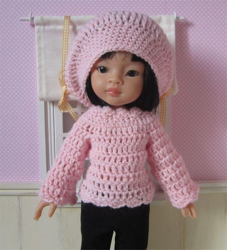Ensemble pull et béret au crochet pour poupée Paola Reina ou Les Chéries : Jeux, jouets par atelier-crochet